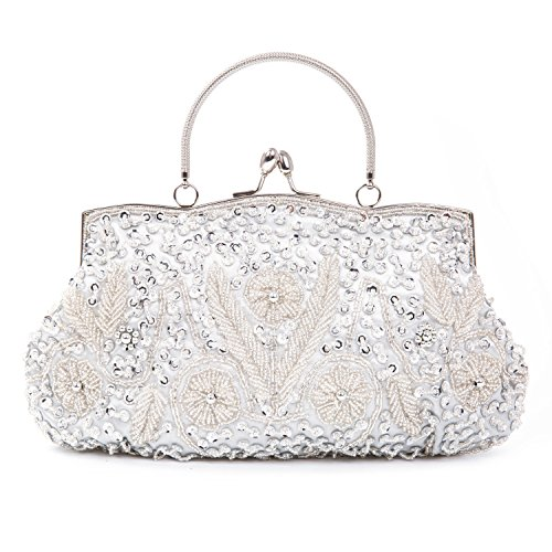Chichitop Beaded Sequin Design Flower Evening Purse Large Clutch - Jeweled Ivory Handbag