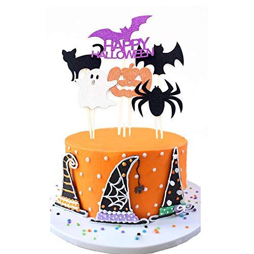 Antallcky 6pcs Happy Halloween Cupcake Toppers Pumpkin Bat Spider Ghost Cat&Theme Words