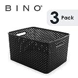 BINO Woven Plastic Storage Basket (3PK- L, Black)