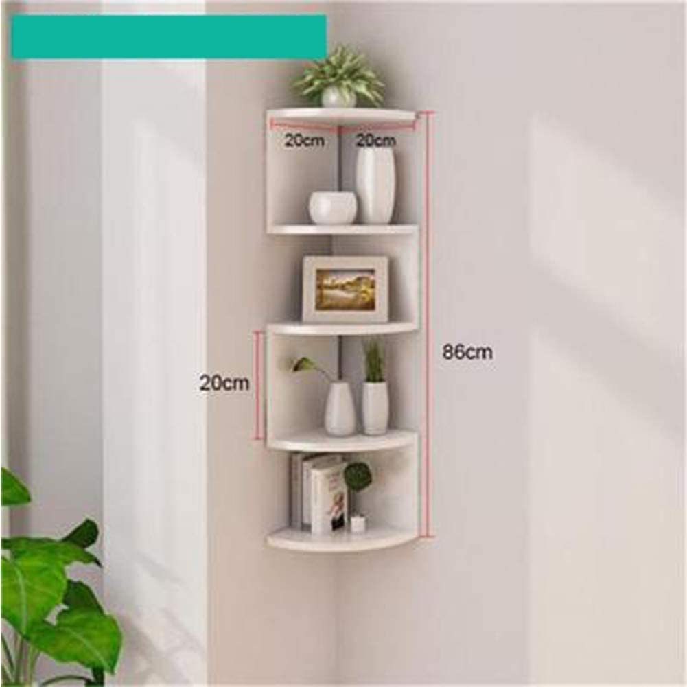 Layer Meight*H20CM Bearing 20KG -White Corner Wall Shelf 5 Layers Rack Solid Wood Frame Bookcase