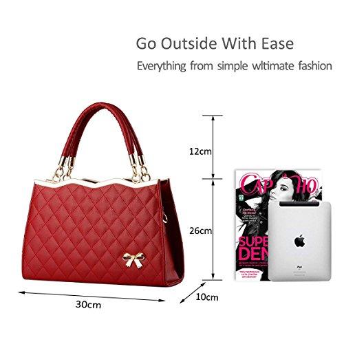 Nicole Soft Ladies PU Bag amp;Doris Ivory Crossbody Handbag Lattice Diamond Women New Leather Wine Red Surface Shoulder r8rqRUw