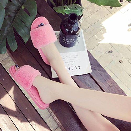 Hunpta Damen Flauschige Faux Pelz Flache Pantoffel Flip Flop Sandale Schuhe Watermelon Red