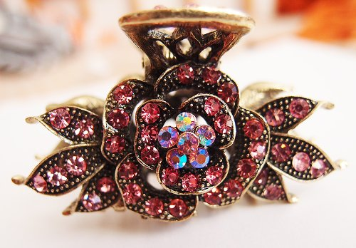 New Fashion pink color Crystal Bronze Metal Alloy flower hair claws (New Hair Jaw Clip)