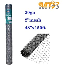 "Galvanized Hexagonal Poultry Netting,Chicken Wire 48""x150'- 2"" 20GA (also sold in 25' / 50' length)"