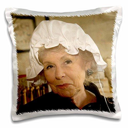 Danita Delimont - Virginia - Woman in hair bonnet, Williamsburg, Virginia - US47 JME0103 - John and Lisa Merrill - 16x16 inch Pillow Case (Colonial Costume Williamsburg)