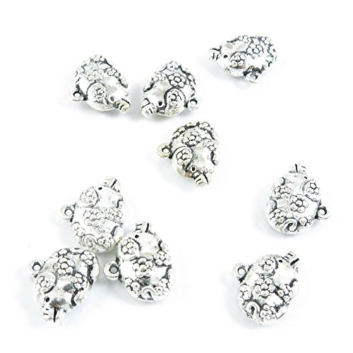 (Qty 10 Pieces Silver Tone Jewelry Making Charms Filigrees R6FB0 Chinese Zodiac Plum Pig)
