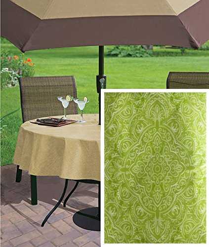 Kasey Shabby Chic Medallion Check Print Vinyl Flannel Backed Tablecloth, Indoor/Outdoor Tablecloth for Picnics, Barbeque, Patio and Kitchen Dining, 70 Inch Zippered Umbrella Hole Round, Green