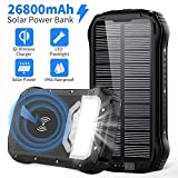 Solar Charger 26800mAh, Qi Wireless Portable Charger Solar Power Bank with 4 Outputs & Dual Inputs Type-C, Waterproof External Backup Battery Pack with 18 LED Flashlight for Smart Phone (Black)