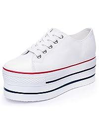 Rismart Women's Classic Wedge High Heel Canvas Fashion Sneaker