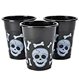 Black And White Skull And Cross Bones Pirate Plastic Cups (50)
