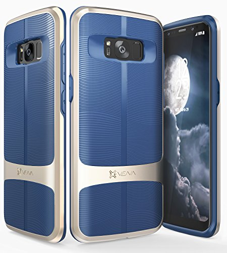 Galaxy S8 Plus Case, Vena [vAllure] Wave Texture [Bumper Frame][CornerGuard Shockproof | Strong Grip] Slim Hybrid Cover for Samsung Galaxy S8 Plus (Gold/Navy Blue)