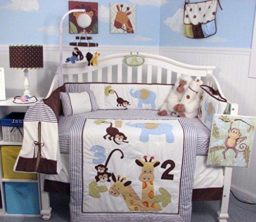 SoHo 123 Giraffe Baby Crib Nursery Bedding Set 13 pcs included Diaper Bag with Changing Pad & Bottle Case by SoHo Designs   B0075C4UBG