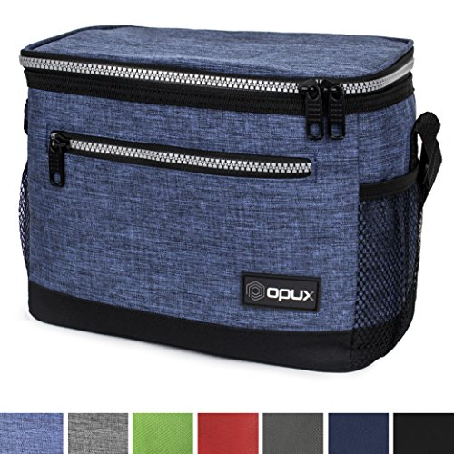 Premium Insulated Lunch Bag with Shoulder Strap by OPUX | Perfect For Kids, Men, Women, Work, School, Office | Soft Leak Proof Liner | Medium Capacity Lunch Box | Easily Fits 6 Cans (Heather Navy)