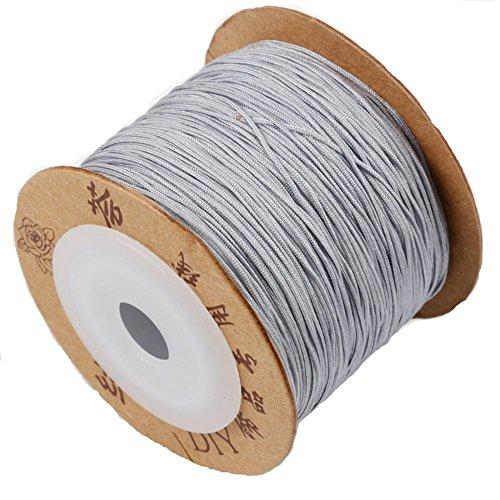 jennysun2010 0.8mm Grey Quality Satin Silk Nylon Braid Rattail Cord Knotting Thread Rope Beading Bracelet Necklace Jewelry Design Crafts (180 Meters for 1 Reel)