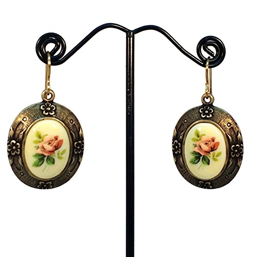 Floral Cameo Earrings (Desert Rose Cameo Brass Ox Oval Earrings, Hypoallergenic, Floral Jewelry)