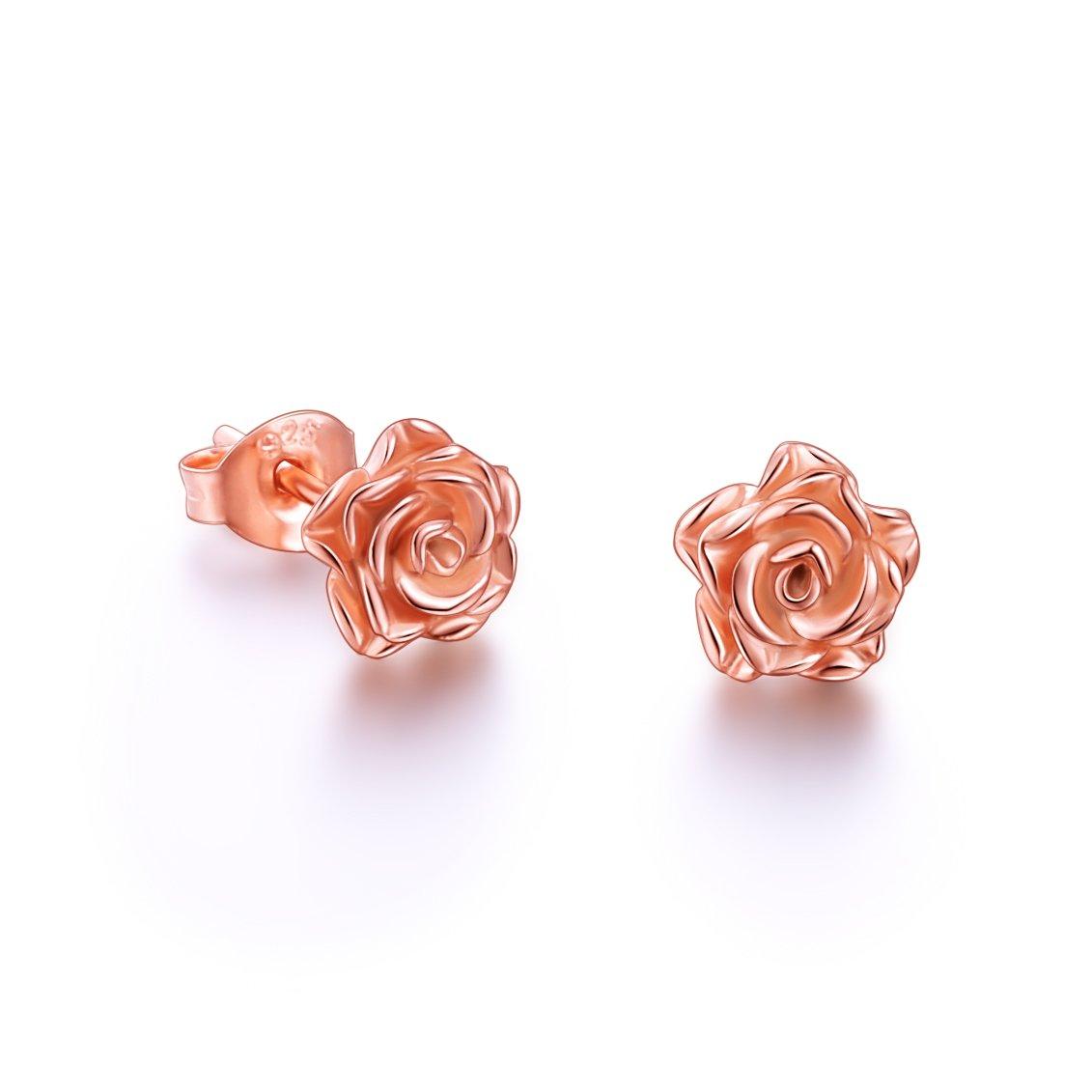 S925 Sterling Silver Rose Flower Stud Lotus Earrings for Women Girl (Rose Gold)
