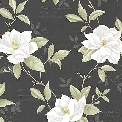 Brewster 2532-20437 Cressida Magnolia Trail Wallpaper, Black