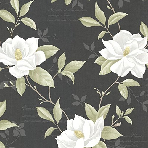 Brewster 2532-20437 Cressida Magnolia Trail Wallpaper, Black