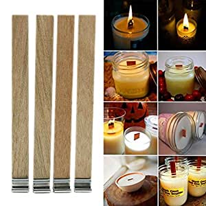 Kangnicce 10Pcs Candle Wood Wick with Sustainer Tab Candle Making Supply 3 Sizes New (13mm x 130mm)