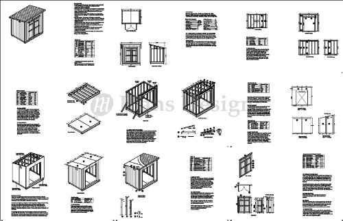 Modern Roof Style 6' x 8' Deluxe Shed Plans, Design # D0608M, Material List and Step By Step Included
