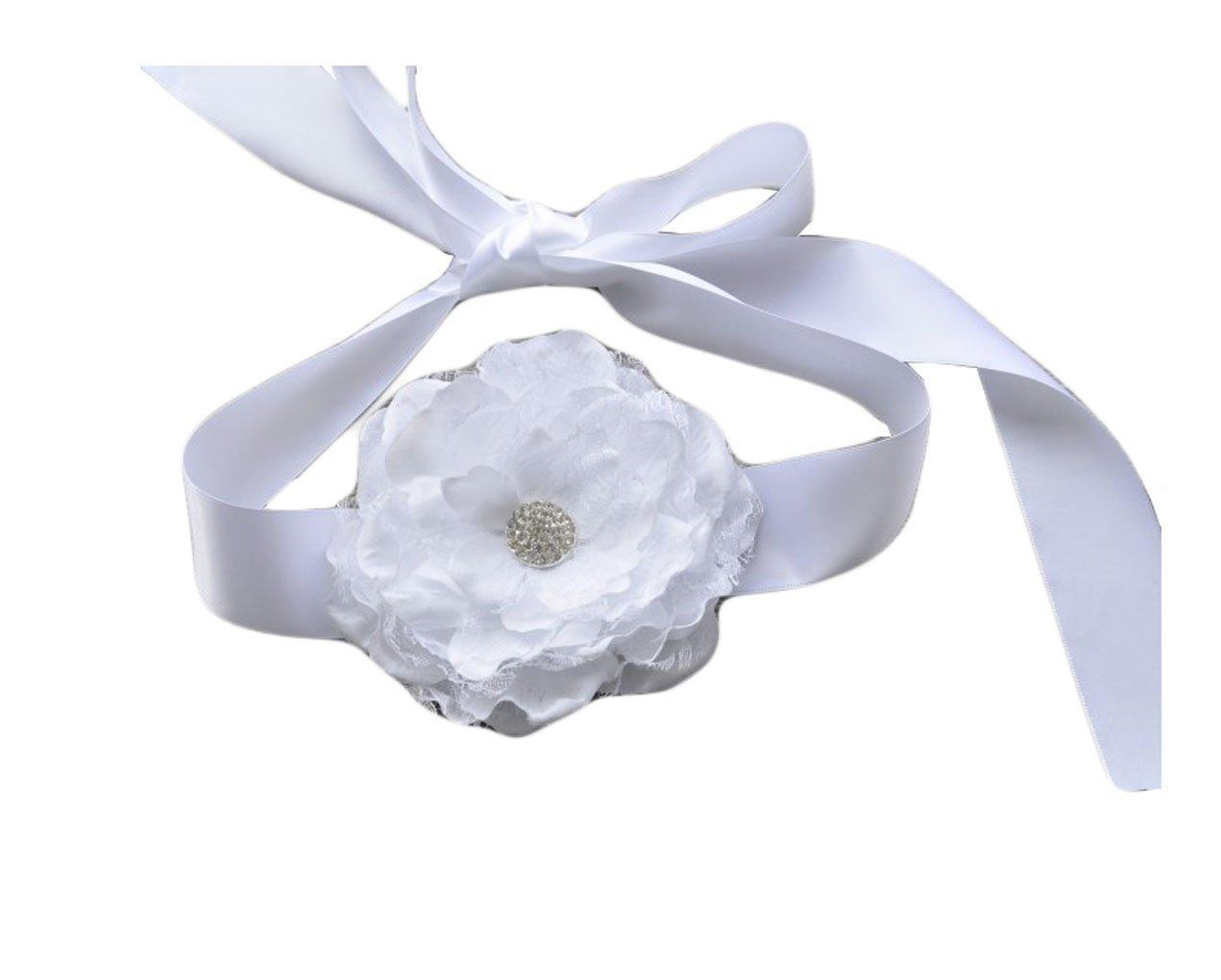 Flower Girls Sash Belt with Lace Big Peony Flower Wedding Girls Bridesmaid Sash JB20
