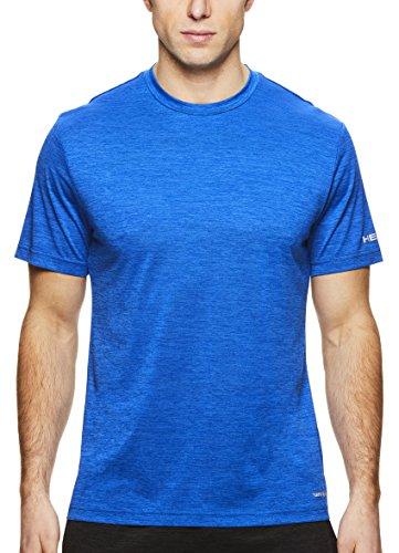 HEAD Men's Ultra Hypertek Crewneck Gym Training & Workout T-Shirt - Short Sleeve Activewear Top - Ultra Supreme Blue Heather, Large