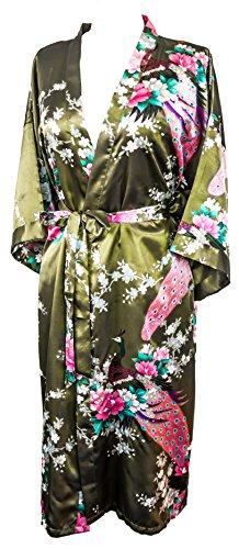 CC Collections Kimono 16 Colours Premium Version Free 1st Class UK Shipping Dressing Gown Robe Lingerie Night wear Dress Bridesmaid Hen Night (Green Olive)