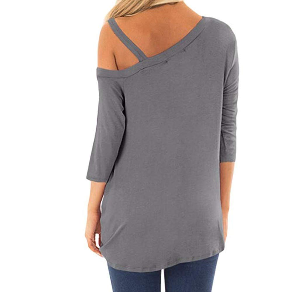 iQKA Women Oblique Off Shoulder Tee Shirt 3/4 Sleeve Knot Blouse Tunic Top(Gray ,Small by iQKA (Image #2)