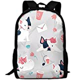 OIlXKV Cute Cartoon Black And White Face Puppy Print Custom Casual School Bag Backpack Multipurpose Travel Daypack For Adult