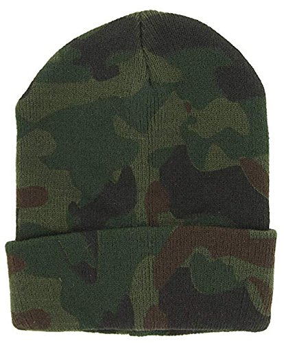 (DealStock Plain Knit Cap Cold Winter Cuff Beanie (40+ Multi Color Available) (Camo) )