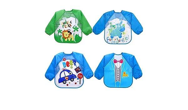 4 baberos de goma EVA para bebé, impermeables, unisex, de manga ...