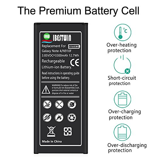 Note 4 Battery IBESTWIN 3300mAh Li-ion Replacement Battery for Samsung Galaxy Note 4 N910, N910V, N910A, N910T, N910P, N910R4, N910U 4G LTE, N910F [3 Years Warranty] by IBESTWIN (Image #2)