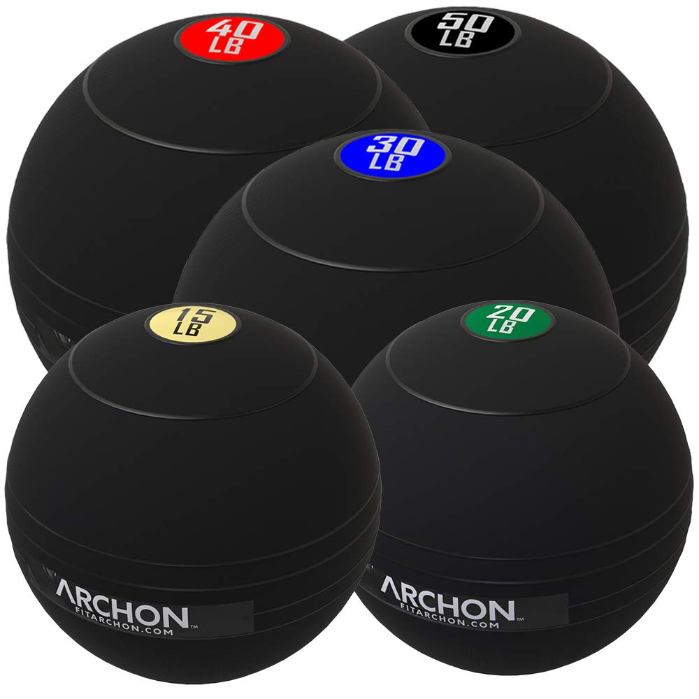 ARCHON Training 15LB, 20LB,30LB, 40LB, 50LB Pound Slam Ball Set | Crossfit Workout | No Bounce Exercise Ball | Gym Equipment Accessories | Plyometric | Cardio | Jam Ball | Squats | Medicine Ball