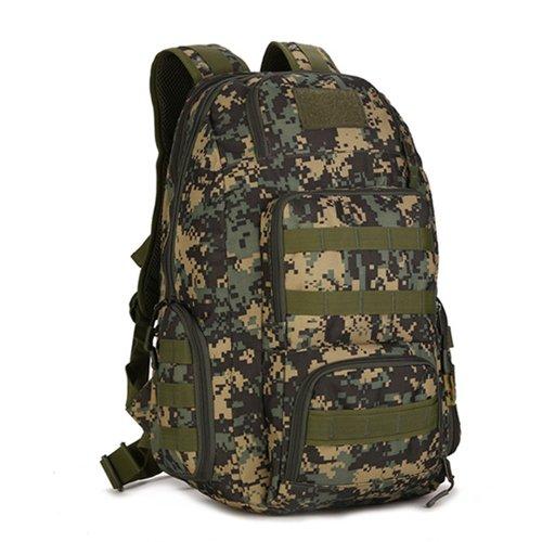 JWBB Bolso de Hombro de camuflaje, hombres y mujeres de mochila de viaje, deportes al aire libre, montañismo, cabalgatas, impermeable, tácticas militares, abanicos, mochilas, bolsas de pesca,caqui Ejército de la verde jungla digital