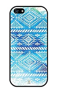 iZERCASE iPhone 5, iPhone 5S Case Simple Blue Aztec Tribal Pattern RUBBER CASE - Fits iPhone 5, iPhone 5S T-Mobile, Verizon, AT&T, Sprint and International