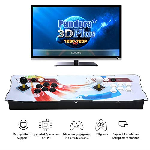 HAAMIIQII 3D Pandora Plus 2400 Retro Arcade Game Console | Quad-core A7 CPU | Games Classification | Full HD Video | Favorite List | Alphabetical Order | HDMI/VGA/USB/AUX Audio Output ()