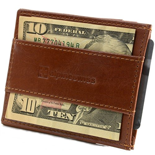 Alpine Swiss Genuine Leather Super Thin Slim Cash Strap Front Pocket Wallet Brown