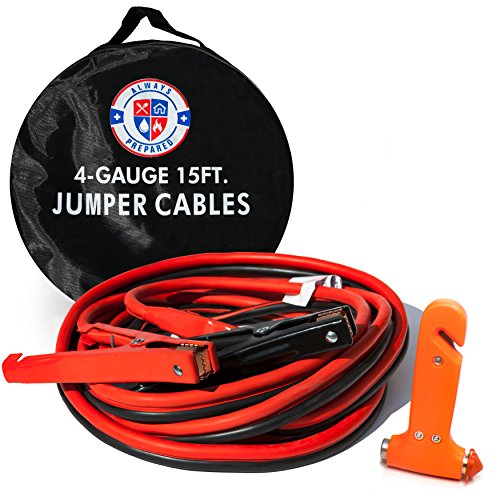 Jumper Cables 4 Gauge 15 feet w/Carry Bag & Emergency Auto Escape Tool | Quality Battery Booster Cables w/High Capacity (400 AMP), Tough Insulation and Alligator Clamps for Car, Truck