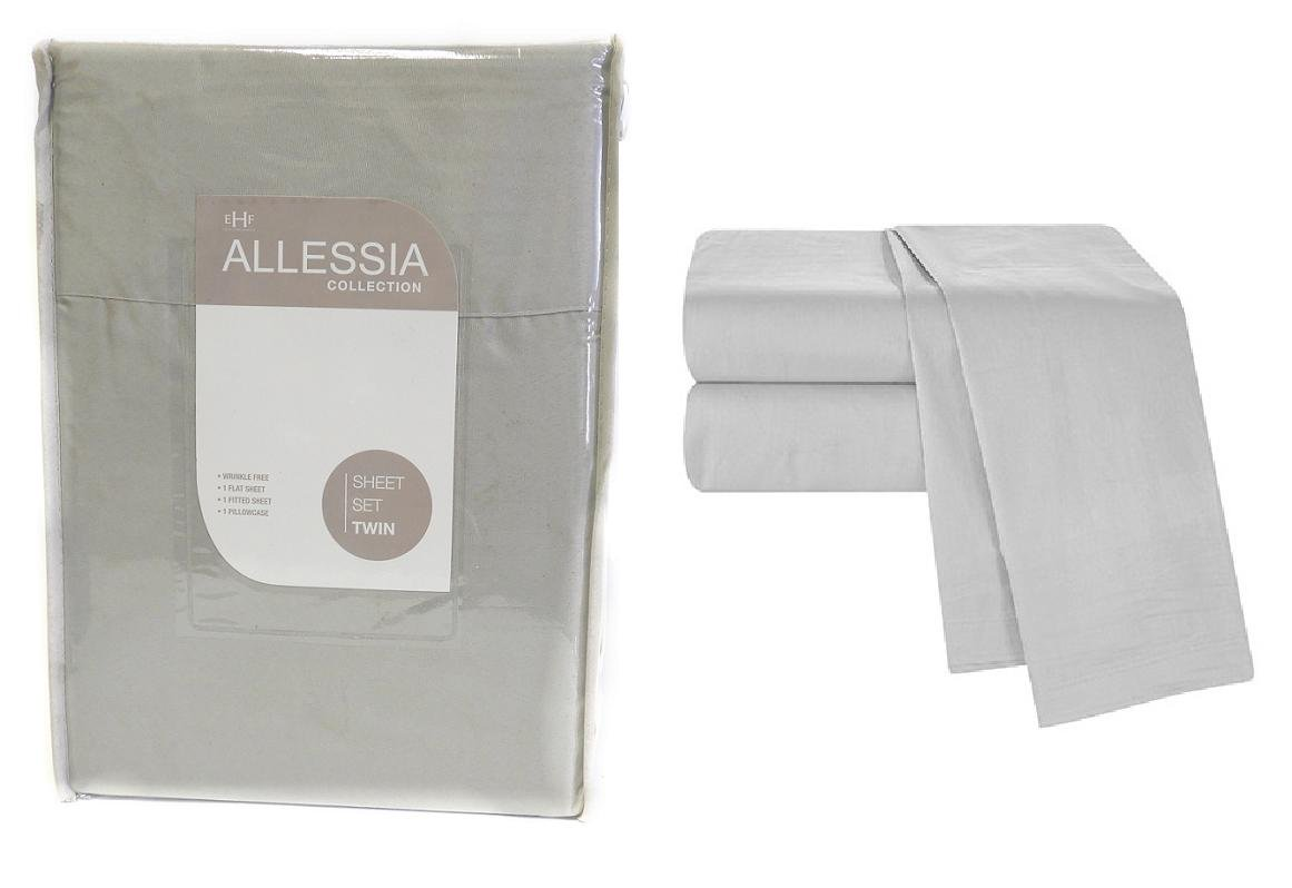 Allesia Collection Grey Twin Size Sheet Set Back To School College Dorm