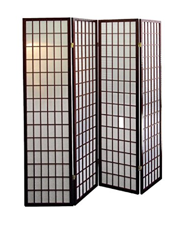ORE Furniture International 4-Panel Room Divider, (Japanese Inspired Wood)