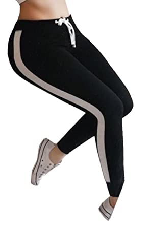 9f7657b394155 Suncolor8 Womens Drawstring Gym Workout High Rise Yoga Striped Side Leggings  Pants Trousers at Amazon Women's Clothing store: