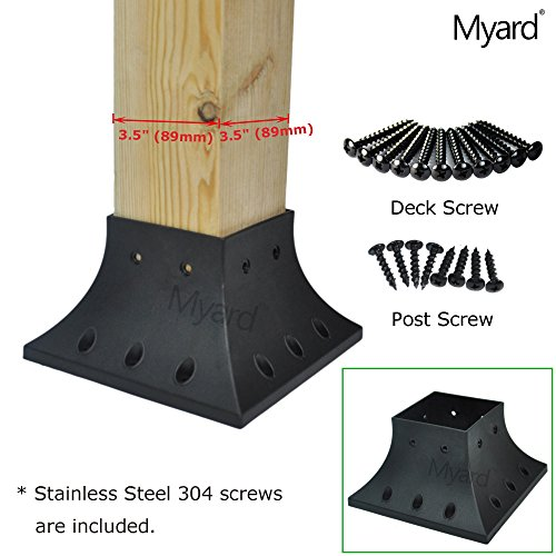 Porch Post Base (Myard 4x4 (actual 3.5x3.5 ) Inches Post Base Cover Skirt Flange w/ Screws for Deck Porch Handrail Railing Support Trim (Qty 1, Black))