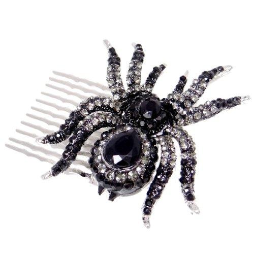 Halloween Hair (EVER FAITH Silver-Tone Halloween Black Spider Hair Side Comb Austrian)