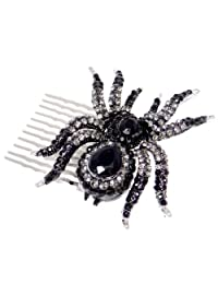 Ever Faith Silver-Tone Black Spider Hair Comb Austrian Crystal N02251-1