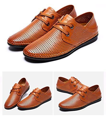 Huecos Cordones 5 para Talla Hombres 5 9 de de Hombres con para Marrón 8 Cuero Mocasines Ocasionales Claro Redonda HhGold Cabeza UK Claro Color US cómodos Zapatos Marrón Respirables BCvtxt