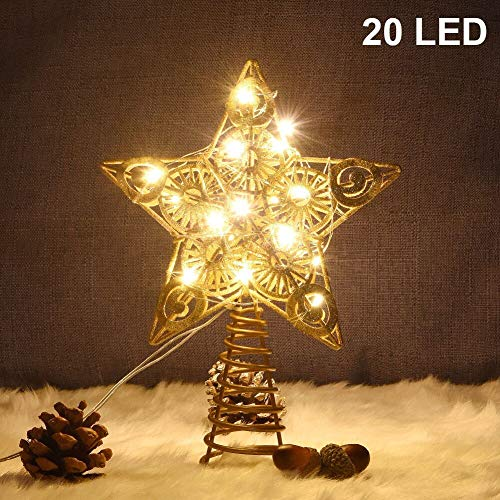 Juegoal Star Tree Topper with 20 LED Lights, Gold Lighted Treetop Christmas Tree Decoration, 9 Inches (H)