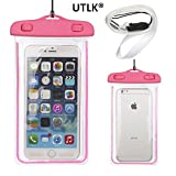 UTLK Universal Waterproof Cell Phone Carrying Case for Apple iPhone6 6s,iPhone 6 PLus,5s, 5, 5C,4s,4, for Galaxy S6 / S6 Edge / S5 S4 S3 / Note 4, 3, 2, for Google Nexus 4 / 5 / 6,LG G2 / G3,HTC M7 / M8 / M9 and the other Mp3 Players - IPX8 Certified to 100 Feet (Hot Pink)
