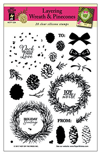 """Layering Wreath & Pinecones Clear Silicone Stamp Set by Hot Off The Press 