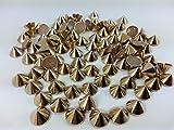 CraftbuddyUS 100pcs 10mm Rose Gold Hotfix Cone Spike Studs, Punk, DIY Fashion Gems, Stick on