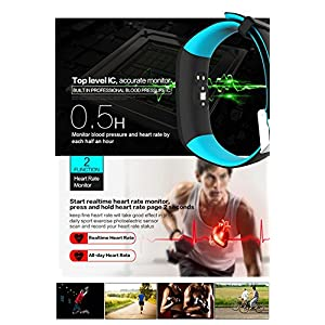 TechBay Smart Bracelet Fitness Tracker with Blood Pressure Monitor and Heart Rate Monitor for Android Samsung Phones and IOS iPhone (Blue)